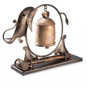 Sculpture~ Hippy Bohemian Recycled Iron Elephant Bell Chime Gong~ By Folio Gothic Hippy MD138
